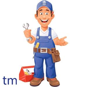 تصویر کارتونی از یک لوله کس با لباس کار طوسی به همراه لوگو تاسیسات مردانی