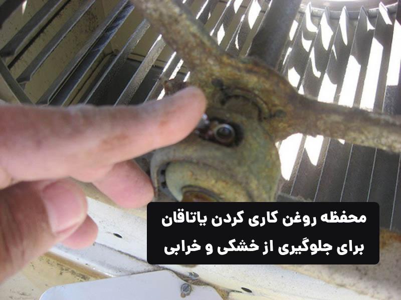 روغن کاری یاتاقان کولر آبی برای جلوگیری از خشکی